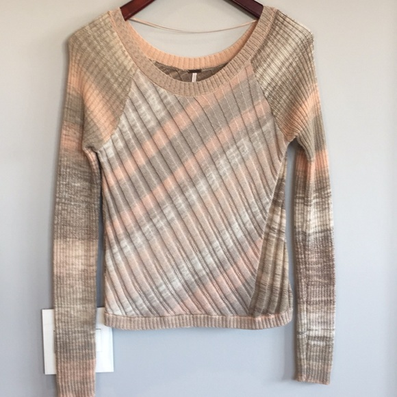 Free People Sweaters - Free People Gray/Blush Cable Knit Sweater Small